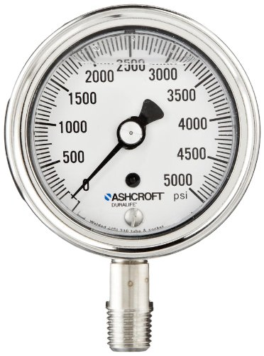 Ashcroft Duralife Type 1009SW Stainless Steel Case Pressure Gauge with Stainless Steel System, 2.5' Dial Size, Glycerin Liquid Filled, 1/4' NPT Lower Connection, 0/5000 psi Range