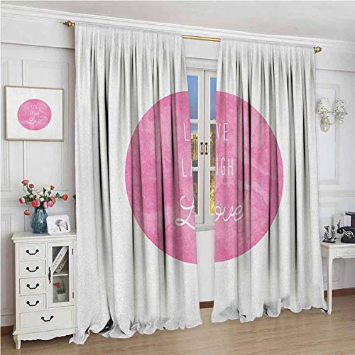 GUUVOR Live Laugh Love Blackout Curtain Watercolor Background with Brush Marks and an Inspiring Love Laugh Quote 2 Panel Sets W96 x L108 Inch Pink White