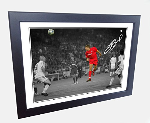 Signed 12x8 Black Soccer Steven Gerrard Istanbul Goal Liverpool FC Autographed Photo Photograph Football Picture Frame Gift A4 by kicks