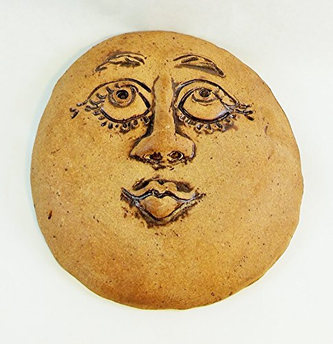Aunt Chris' Pottery - Extra Large Primitive - Lady In The Moon Face - Made of Clay Stoneware - Rustic Brown Color - Wall Hanging - Hand Etched and Sculpture - With Twisted Rusty Wire Hanger ()