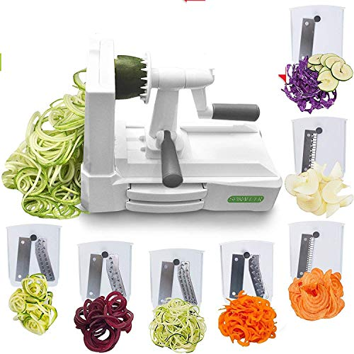 Spiralizer Vegetable Slicer – Food Processor for Fruits and Veggies – Multipurpose 7-Blade Practical Design Spaghetti Maker – Sturdy and User-Friendly – Ideal for Healthy Diets, Paleo, Keto