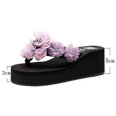 ad3655d18dfe4 Amazon.com | Woman's Cute Handmade Flower Beach Sandals Wedge ...