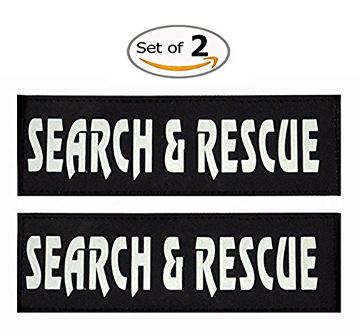 Yunneihe Set of 2 Dog Reflective and Removable/Interchangeable Patches - Perfect for Harness & Vest - Search Rescue