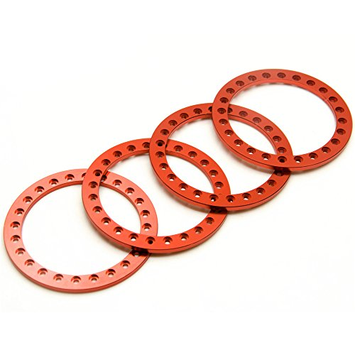 Ring 2.2 Beadlock (RCLIONS 4pcs Red Aluminum Replacement Wheel Rim Beadlock Ring for 1:10 Crawler Wraith RC Car 2.2