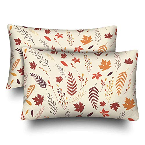 a PIN Autumn Floral Maple Leaves Autumn Harvest Pillow Cases Pillowcase Queen SizeSet of 2, Rectangle Pillow Covers Protector Home Couch Sofa Bedroom Decoration (45.72cm x 45.72cm)