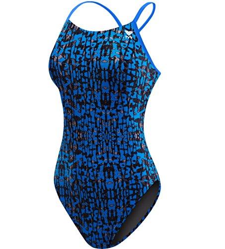 TYR Women's Petra Cutoutfit Swimsuit, Blue, Size 32