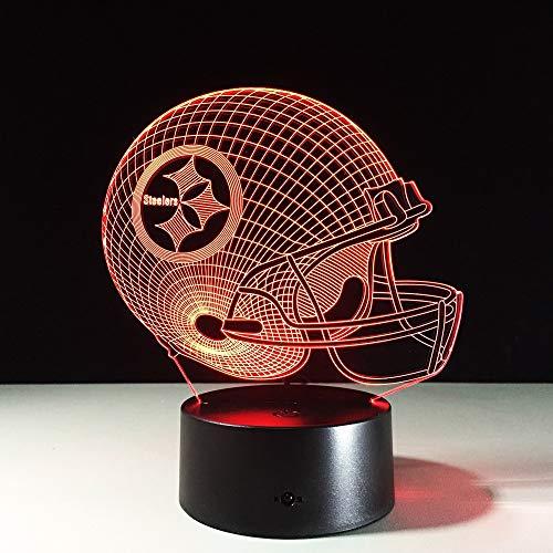 ge 3D LED Night Light, for NFL Team Pittsburgh Steelers Football Helmet, Touch Sensor USB Table Lamp Home Decor Kids Gift ()