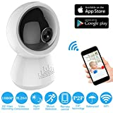 Dome IP WiFi Camera - 180 Degree Full View Wireless Home Security Surveillance System Night Vision Remote Baby Monitor Pet Cameras Infrared IR-Cut Motion Detection for iPhone Android