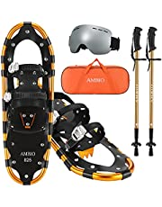 """Ambio Light Weight Snowshoes Set for Men Women Youth Kids, Aluminum Alloy Terrain Snow Shoes with Trekking Poles , Ski Goggles and Carrying Tote Bag, 14""""/21""""/25""""/27""""/30"""""""