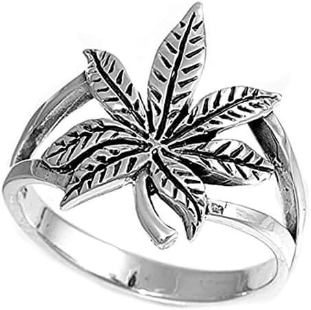 Sterling Silver Cannabis Sativa Marijuana Ring Wholesale Band 17mm Sizes 4-13