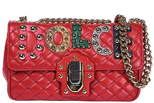 cuir Gabbana rouge en Dolce l'épaule amp; sac femme à lucia 5wnO0zq