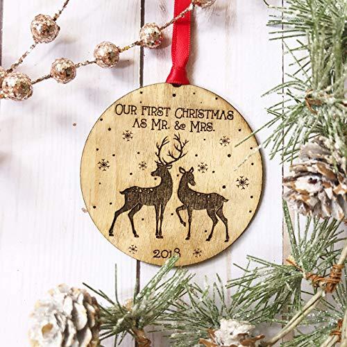 First Christmas as Mr & Mrs Ornament 2018, Rustic Deer Buck Doe Wooden Ornament, First Married Christmas, Wedding Engagement Bridal Shower ()