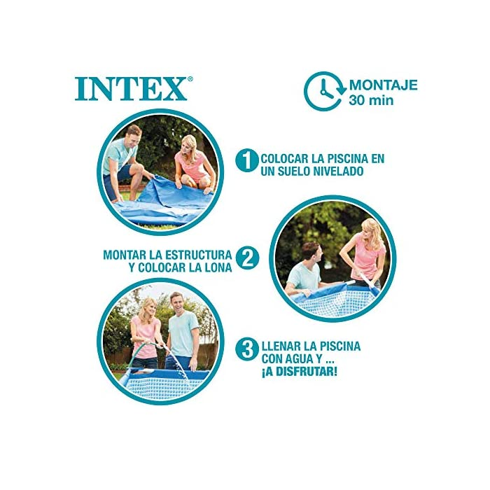 51vO JUv4iL Piscina tubular redonda INTEX con medidas Ø244 y 51 cm de altura óptimo para que los niños disfruten de un verano refrescante Material: fabricada con estructura de tubos de acero con protección antióxido y lona PVC triple capa Capacidad: piscina con capacidad para 1.828 litros de agua