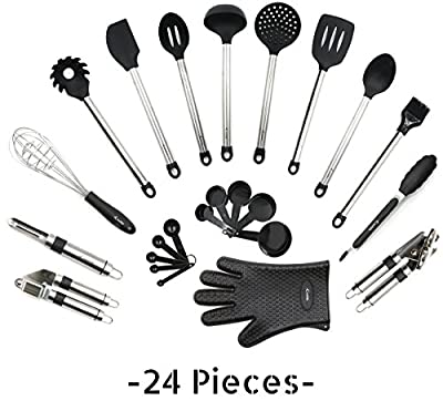 Utensils Set - 24-Piece Complete Silicone Cooking Kitchen Tools Set from Crucible Cookware