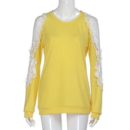 Koly Camisetas y tops Para Mujer Atractivas encaje Blusa de Gasa Hombro Hueco Fría Hombro Manga Larga Blusas y camisas Elegantes Suéteres Sweatshirt T-shirt ...