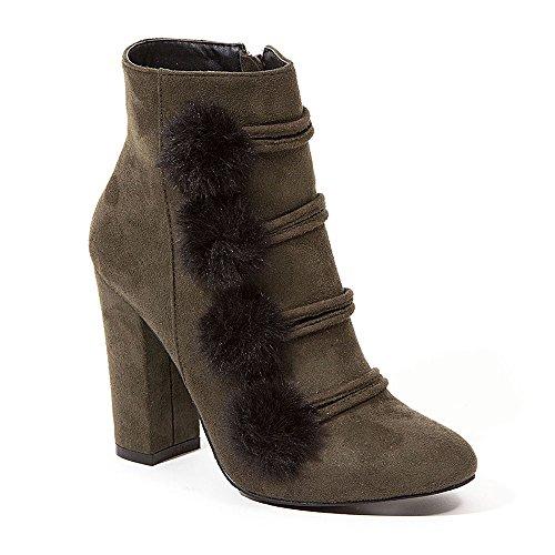 - French Blu Women's Furry Pom Pom Suede High Heel Bootie, Khaki, 37 M EU/6-6.5 US