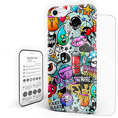YEHO Art Gallery Christmas Phone Case Protective Design Hard Back Case,Halloween Cartoon Graffiti Doodle Pattern,Phone Covers with Screen Protector for Girls Boys,iPhone 7/8