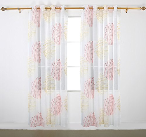 Deconovo Home Decorations Circular Pattern Print Curtains Faux Linen Curtains Grommet Sheer Surtains for Bedroom 52W x 63L Inch Red and Yellow 1 Pair