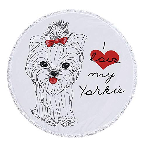 Yorkie No Fading Round Beach Towel,I Love My Yorkie Cute Terrier with its Tounge Out Adorable Yorkshire Terrier for Tapestry & Wall Art & Wall Decor,59.1