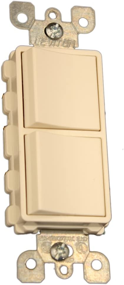 Leviton 5641-T 15 Amp, 120/277 Volt, Decora Single-Pole / 3-Way AC Combination Switch, Commercial Grade, Grounding, Light Almond