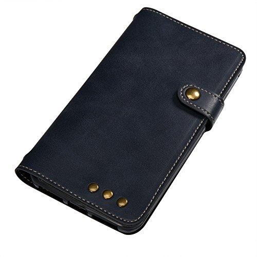YAJIE-Carcasa Funda Para Huawei Y6 Pro (5.0 pulgadas) [Fuerte imán] Lujo Retro Premium PU Funda de cuero Flip Funda protectora con correa para la muñeca ( Color : Brown ) Dark Blue