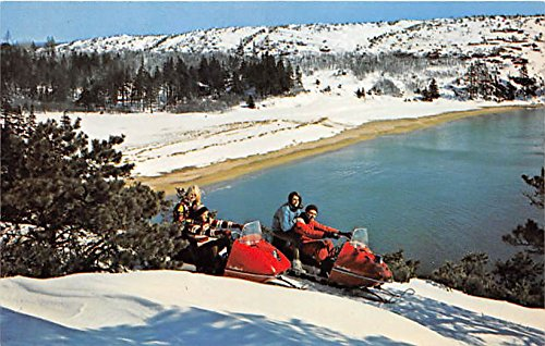 Snowmobiling in Acadia National Park Bar Harbor, Maine, ME, USA Old Vintage Postcard Post Card