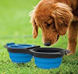 Cheap Mindfull Products Collapsible Double Pet Bowl Set, Includes Carabiner Clip, Blue