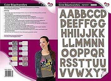 ABC Alphabet Color B/ügeltransfers Transfer-Bilder schnell /& einfach aufb/ügeln braun DIY Textildesign DIN A4 Buchstaben auf Transfer-Folien f/ür Textilien wie T-Shirts /& Taschen