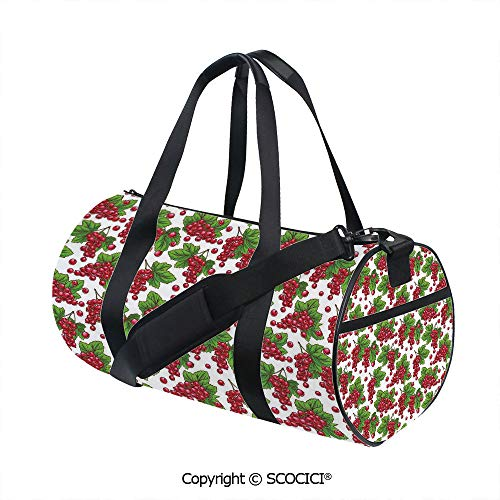 Unisex Cylinder Sports Bag,Redcurrant Branches with Leaves Grape Harvest Agriculture Fruit IllustrationBarrel Bag for Women and Men,(17.6 x 9 x 9 in) Fern Green Ruby