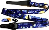 "Van Gogh ""Starry Night"" Guitar Strap Includes -FREE- 2 Strap Locks & 2 Matching Picks. Adjustable Polyester Guitar Strap - Unique Gift For Guitarist - Suitable For Bass, Electric & Acoustic Guitars"