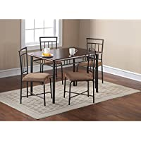 Sleek Classic Metal Glass Top Dinner Table 5 Piece Dining Room Set 4 Upholstered Chairs