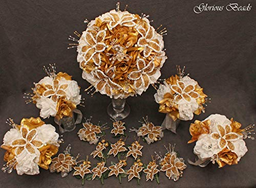 (Gold and White Beaded Lily Wedding Flower 18 piece package with White Roses ~ Unique French beaded flowers and beaded sprays)