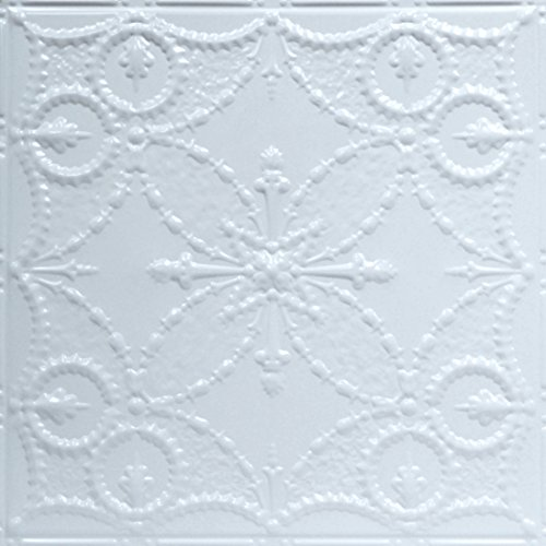 Shanko W535DA Pattern 535 Pressed Metal Wall and Ceiling Tiles, 20 sq. ft. , White, 5 Piece (Piece Decorative Tile 5)