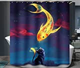One Fish Two Fish Shower Curtain SHOBRILF - Golden Fish And Cat - Waterproof Polyester Shower Curtain - 72x72 Inches
