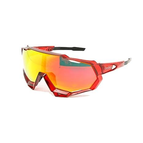 EnzoDate ciclismo occhiali 2LS Kit, occhiali da sole bicicletta anti-UV, Road Racing outdoor sport (Rosso)