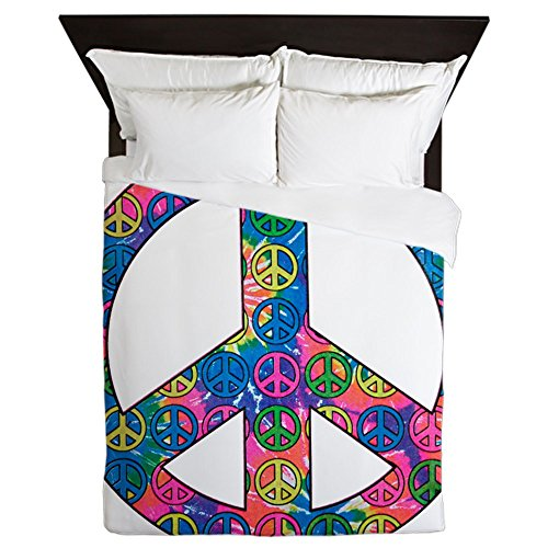 Queen Duvet Cover Peace Symbols Inside Tye Dye Symbol by Royal Lion