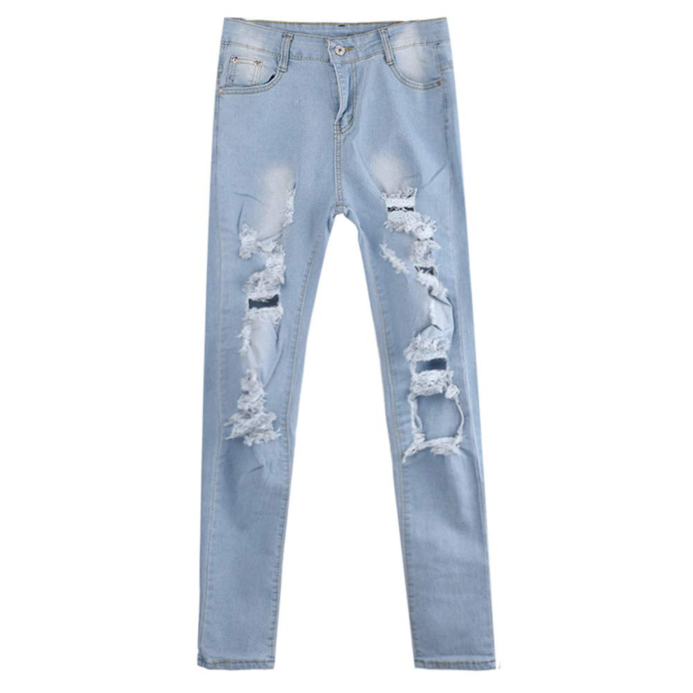 Rambling Womens Ladies High Waist Ripped Hole Jeans Gradient ...