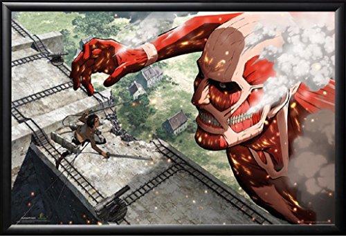 Framed Attack on Titan - Colossus Titan 24x36 Poster in Basic Black Detail Wood Frame