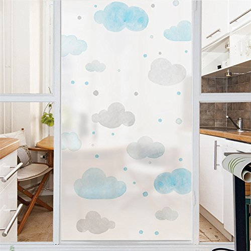 AmazingWall Blue Cloud Window Film Stained Privacy Frosted Decorative DIY Office Meeting Room UV Blocking Decal - Seeing Tint Blue