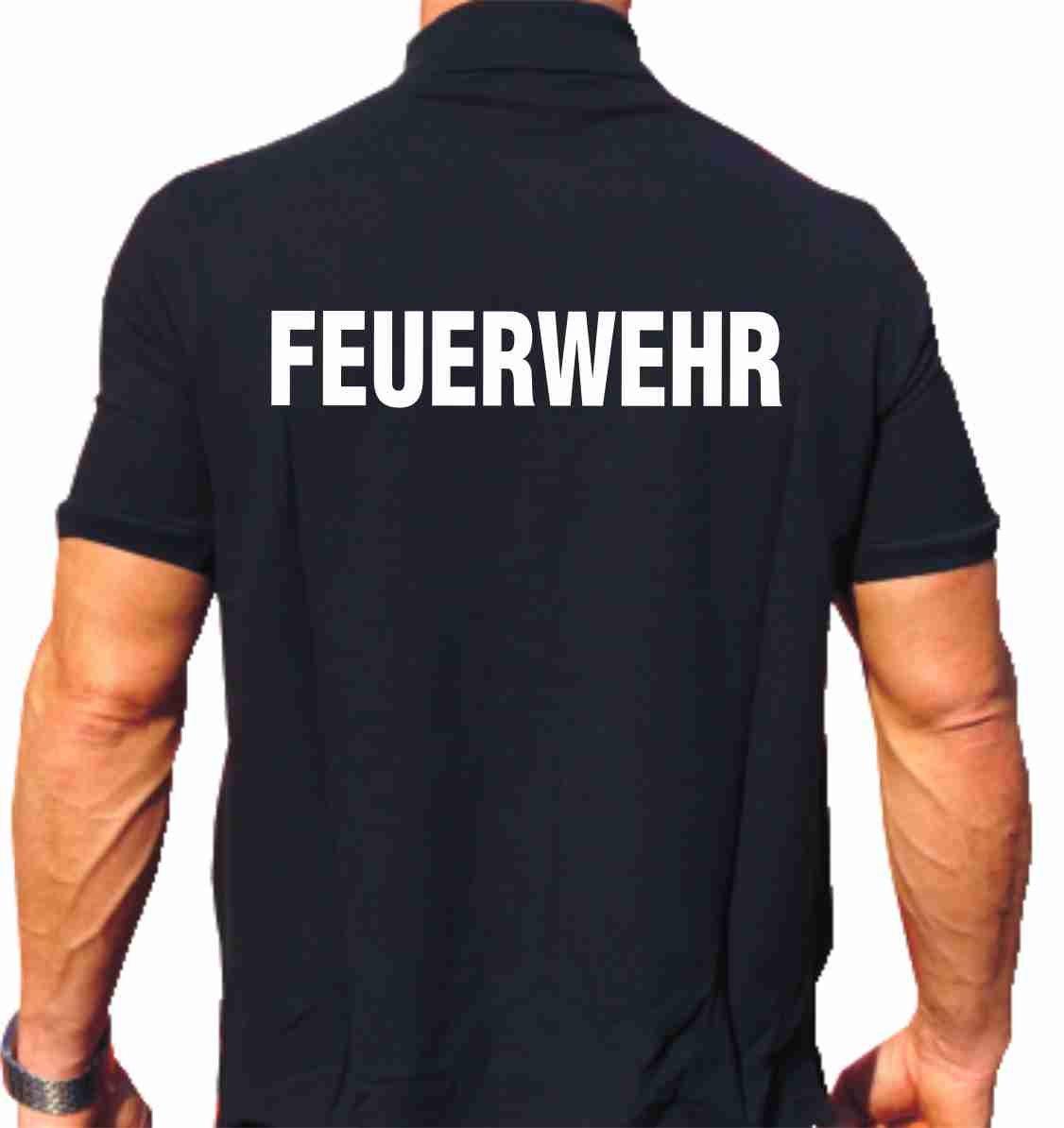 Polo-Shirt FEUERWEHR - weisser beidseitiger Schriftzug feuer1