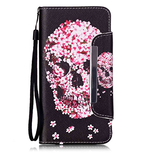 Galaxy Note 5 Case,Firefish [Kickstand Feature][Drop Proof] Durable Leather Folio Style Wallet Case with Anti-scratch Protective Cover for Samsung Galaxy Note 5-Petal Skull