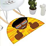 "Afro Semicircle Doormat Happy Hippie Man with Colorful Sunglasses Lifting His Thumbs Retro Positive Vibes Halfmoon doormats H 47.2"" xD 70.8"" Multicolor"