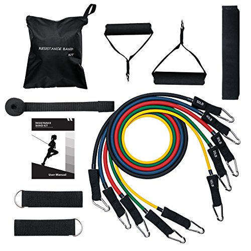 Mpow Resistance Bands with Updated Door Anchor & Band Guard, 13 Pieces Exercise Bands Set with 5 Workout Bands Up to 150 LBS, Fitness Tubes Set for Strengthening Muscle, Keeping Healthy at Home/Gym