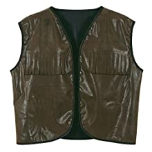 Beistle Faux Brown Leather Cowboy Vest with Fringe for Halloween Party