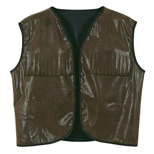 Beistle Faux Brown Leather Cowboy Vest with Fringe for Halloween Party -