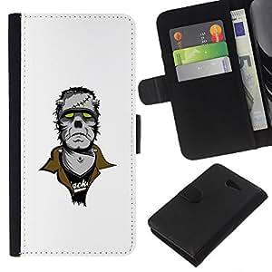 YiPhone /// Tirón de la caja Cartera de cuero con ranuras para tarjetas - Punk Frankenmonster - Sony Xperia M2