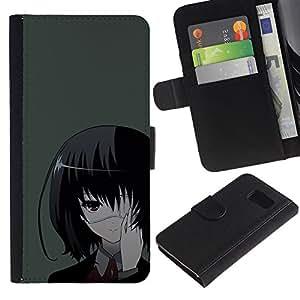 YiPhone /// Tirón de la caja Cartera de cuero con ranuras para tarjetas - Una Eyed Girl japonés - Samsung Galaxy S6