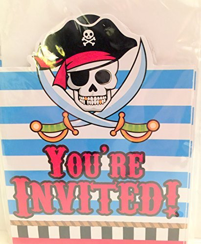 Pirate You're Invited Invitation Cards with Envelopes (8