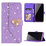 Badalink Galaxy S9 Plus 2018 Case Wallet Protective Flip Cover Glitter Shiny Diamonds Bumper Skin Magnetic Closure Kickstand Shell Built in Pocket Card Slot for Samsung Galaxy S9 Plus (Purple)