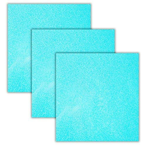 Aqua Glitter Heat Transfer Vinyl Sheets/HTV 3 Pack Bundle/Cricut, Silhouette Cameo, Iron On Or Heat Press Machine/Make Amazing T Shirts/Exceptional Quality/USA Packed-10 1/12 X 9 5/8